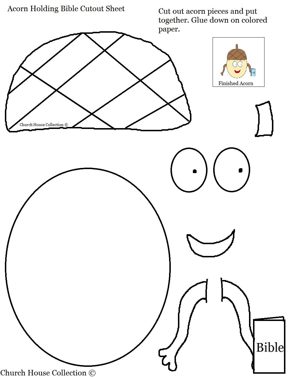 acorn holding bible cutout sheet for kids jpg
