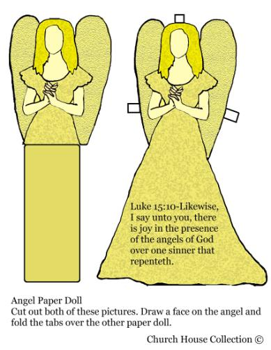 Angel Paper Doll Luke 15:10 Sunday school craft