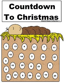 Baby Jesus Advent Calendar Printable For Christmas Countdown to Christmas sheet for Sunday school Children's Church Kids