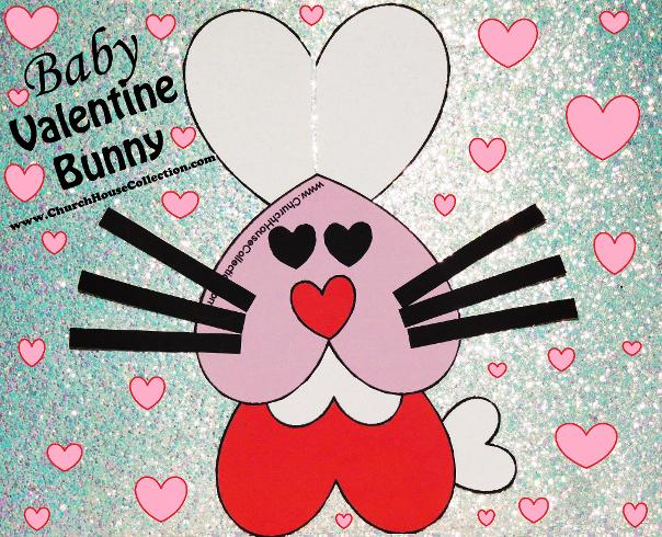 Baby Valentine's Day Bunny Rabbit Heart Craft Cutout Printable Template For Kids