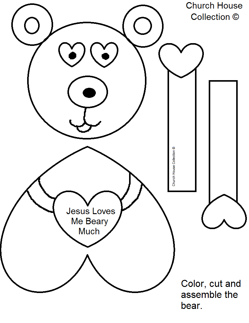 Bear valentine craft jesus loves you beary much for Free craft templates to print
