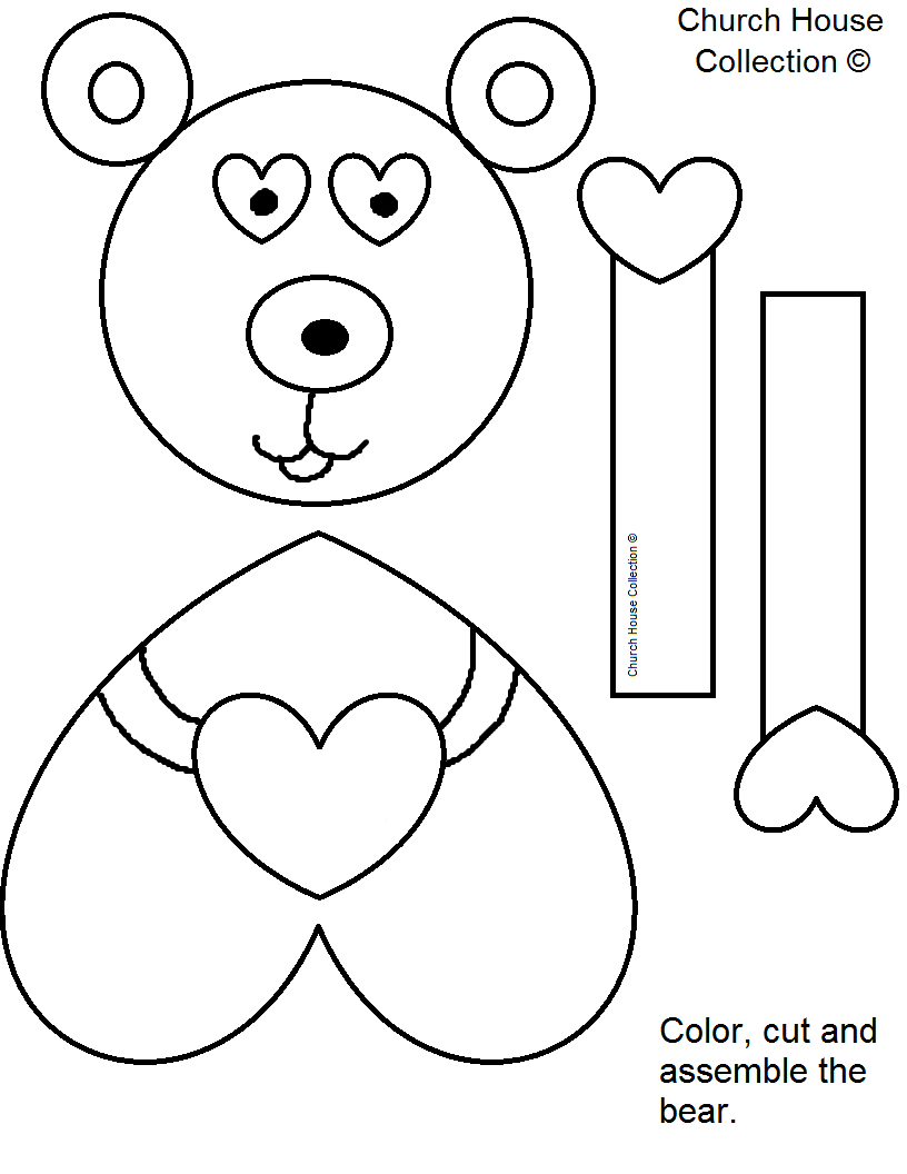 bear template without words colored or black and white - Art Templates For Kids