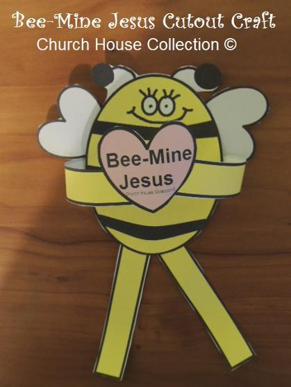 Bee Mine Jesus Cutout Craft for Kids in Sunday school or Children's Church. Free Printable Bee Pattern Template.