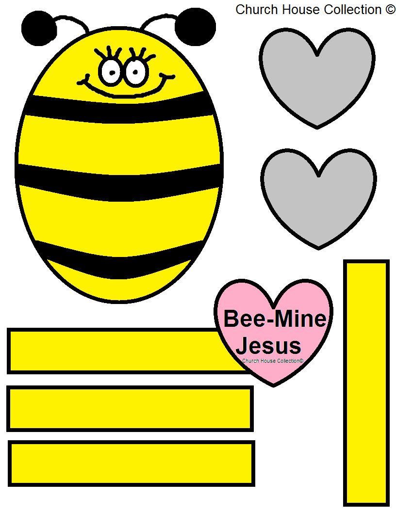 Bee Mine Jesus Craft Valentine Cutout For Kids