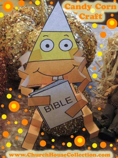 Candy Corn Loves To Read His Bible Cutout Craft