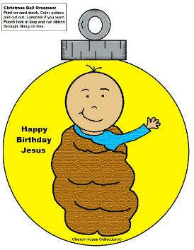 Baby Jesus Ornament Cutout Christmas Craft Sunday school children's church kids
