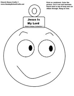 Jesus Is My Lord Christmas Ball ornament cutout craft for Sunday school children's church kids