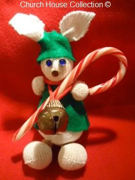 Christmas Rabbit Candy Cane Sock Rice Craft Jingle Bell Kids Crafts Church Sunday School Childrens Church Free Ideas DIY