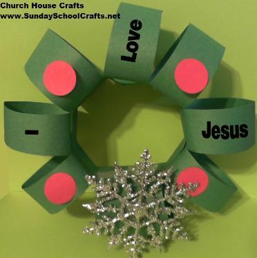 i love jesus christmas wreath craft for sunday school