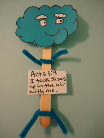 Cloud puppets- Cloud popsicle stick puppets crafts for Sunday school children's church Acts 1:9