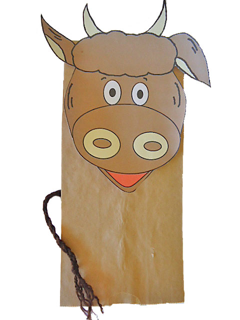 Cow Paper Bag Puppet