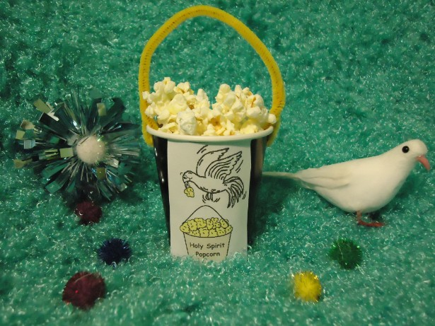 Holy spirit popcorn holder craft for Holy spirit crafts for sunday school