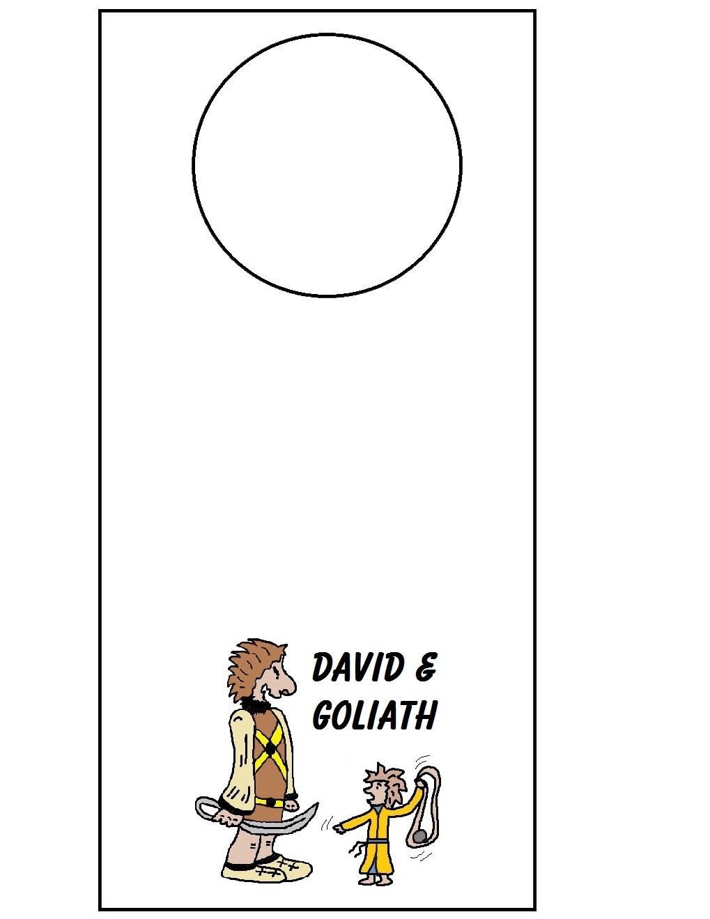David and goliath doorknob hanger for David and goliath craft