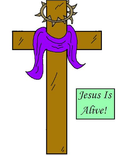 Easter Sunday School Crafts | Church House Collection | Easter Crafts for Sunday school cutout pictures for kids | Jesus Is Alive Cross Cutout Worksheet