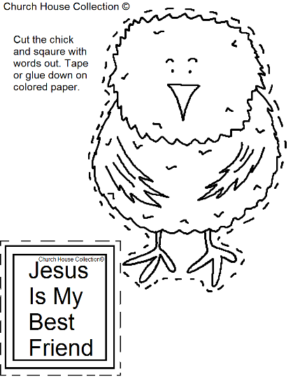 Jesus is my best friend chick cutout craft for kids in Sunday school or children's church.
