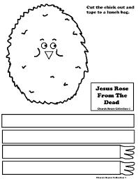 Jesus Rose From The Dead Chick Cutout Sheet For Sunday School Craft Lunch Bag Craft