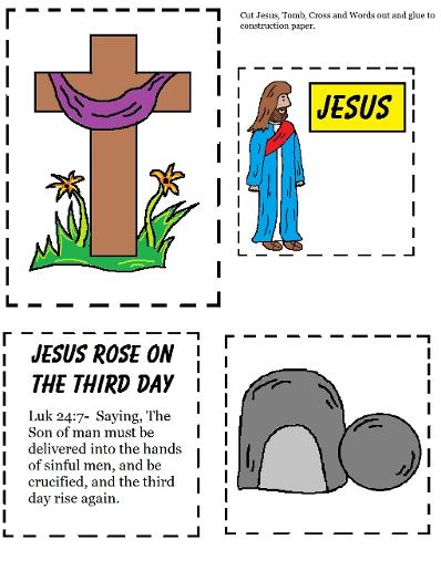 Easter Sunday School Crafts For Kids | Church House Collection | Easter Crafts for Sunday school Toddlers | Jesus, Cross and Tomb Cutout Worksheet | Resurrection Easter Sunday School Crafts