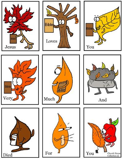 Fall Mini Booklet For Kids to cut out for Sunday school or children's church Fall leaves holding bibles