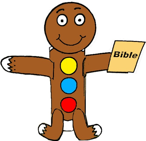 Gingerbread holding bible toilet paper roll craft sunday school children's church christmas crafts