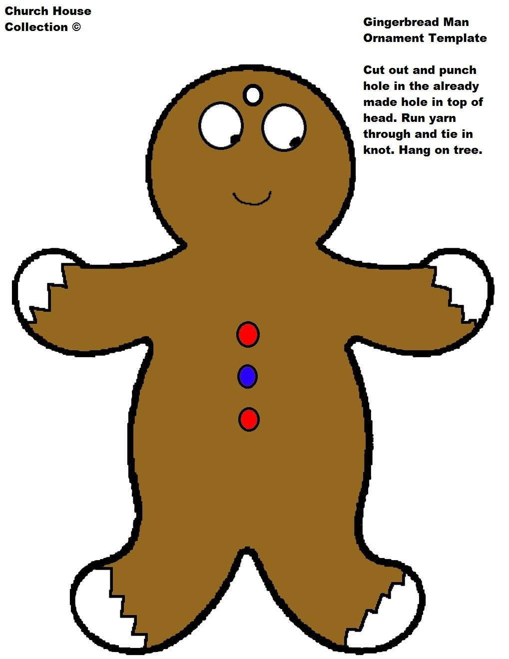 Gingerbread man ornaments - Large Gingerbread Man Ornament Template