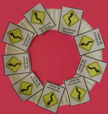 God's road signs paper plate wreath