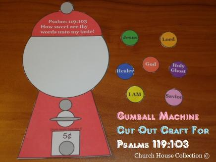Gumball Machine Cut Out Craft  For Psalms 119:103