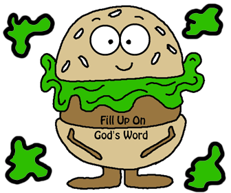 Hamburger Printable Cutout Template For Kids. Fill Up on God's Word. Sunday School Crafts.