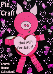 Valentine's Day Pig Cutout Craft For kids in Sunday School. HOG WILD FOR JESUS!