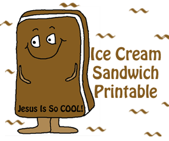 Ice Cream Sandwich Sunday School Crafts- Childrens Church Crafts- Printable Cutout Template For Kids. Jesus Is So Cool!
