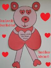 Valentine's Day Crafts For Kids in Sunday School, Children's Church or at home for fun! Jesus Loves You Beary Much Bear Cutout Printable Craft.