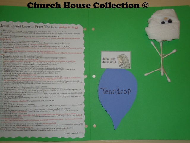Jesus Raised Lazarus From The Dead Lapbook Craft For Kids In Sunday School or Children's Church