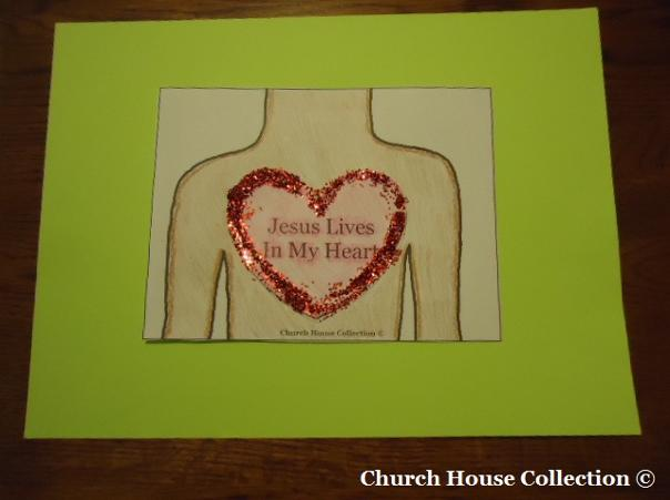 Jesus lives in my heart cutout sheet craft