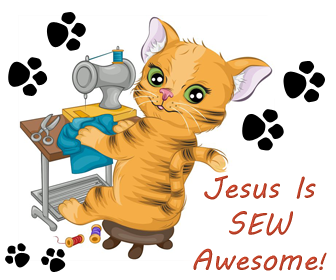 Jesus is SEW Awesome Kitty Cat with Sewing Machine Cutout Craft For Small Kids in Sunday School Church Free Bible Crafts
