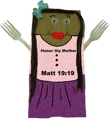 Mother's Day Lunch Bag Craft-Honor thy mother matthew 19:19