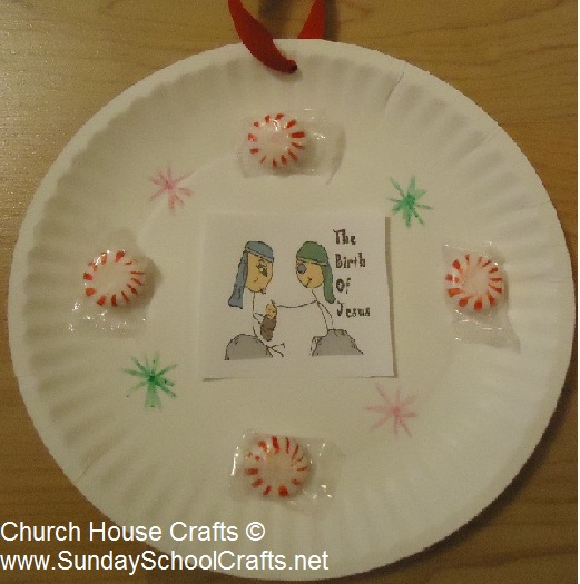christmas peppermint nativity wall plate craft for Sunday school children's church kids