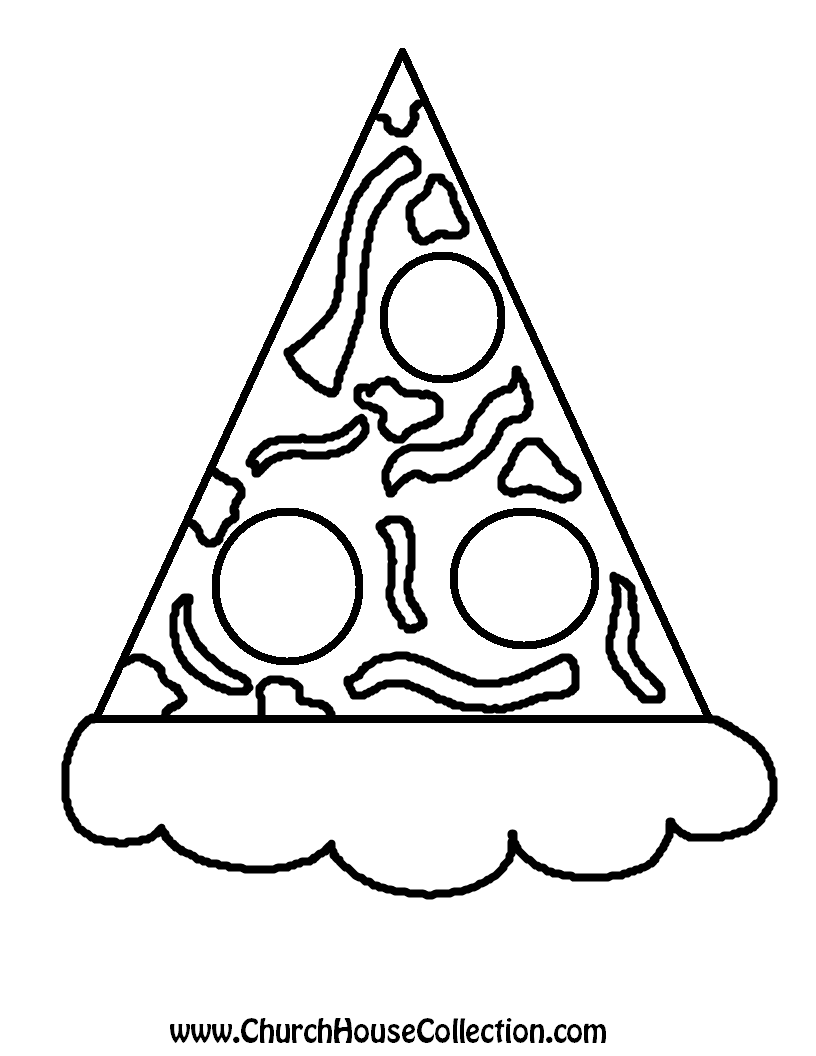 Pizza lessons and a pizza coloring page printable - Pizza Black And White No Words Printable Version