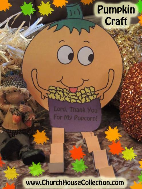Pumpkin Eating Popcorn Cutout Craft