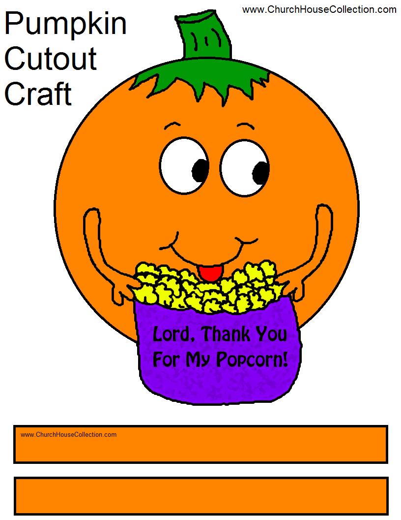 Pumpkin Eating Popcorn Cutout Craft
