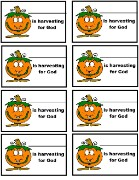 Pumpkin Name Tags, Harvesting For God Name Tags
