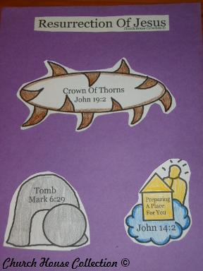 Resurrection Of Jesus Cut Out Craft for kids in Sunday school Crown of Thorns Tomb Heaven