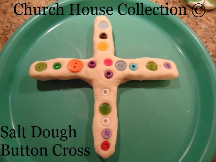 Easter Salt Dough Cross with buttons and beads