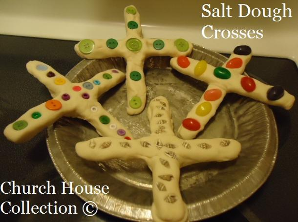 Easter Salt Dough Cross- Easter Sunday School Crafts - Church House Collection | Salt Dough Crosses Made With Jelly Beans For Easter Sunday School Crafts