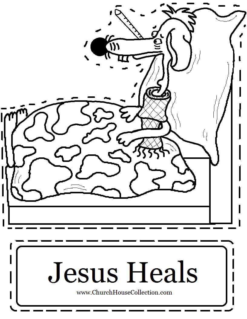 Sick Dog Jesus Heals Cutout For Sunday School Kids