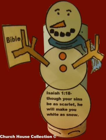 Snowman Holding Bible Cut Out Craft For Kids in Sunday School.  Isaiah 1:18
