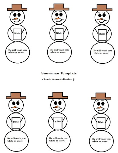 Snowman Holding Bible Template
