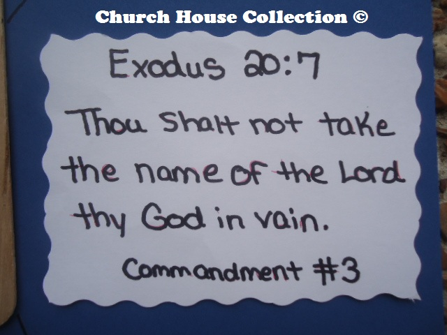 Thou Shalt Not Take The Name Of The Lord Thy God In Vain Craft Ten Commandments Exodus 20:7 Sunday school crafts