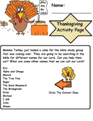 Turkey Thanksgiving Activity page