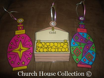 Gold, Frankincense, Myrrh Ornaments