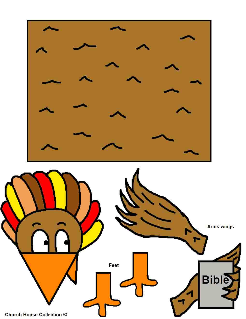 Turkey Holding Bible Toilet Paper Roll Craft Template