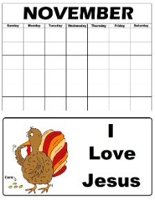 Printable Turkey Calendar
